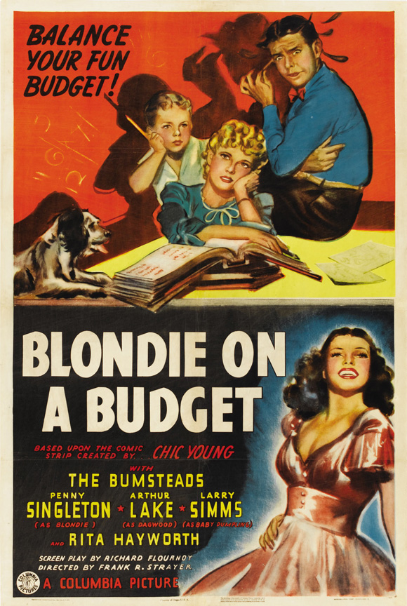 Rita Hayworth, Arthur Lake, Larry Simms, Penny Singleton, and Daisy in Blondie on a Budget (1940)