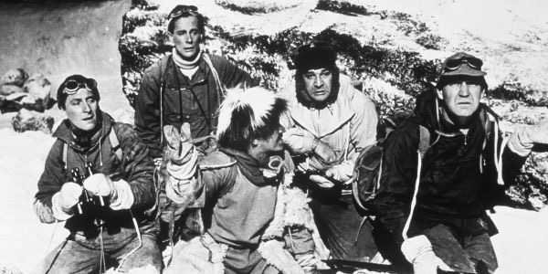 Peter Cushing, Michael Brill, Robert Brown, Wolfe Morris, and Forrest Tucker in The Abominable Snowman (1957)