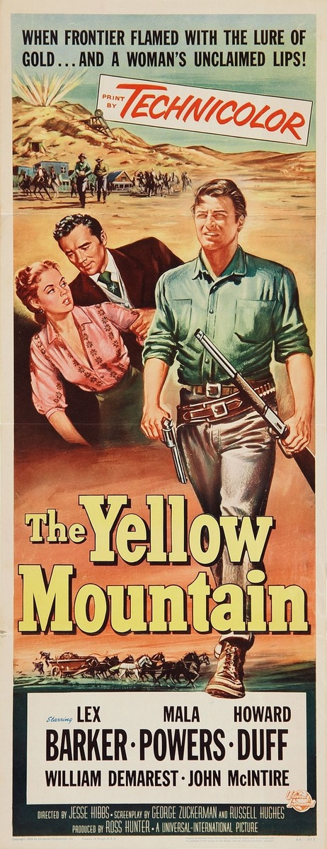 Lex Barker, Howard Duff, and Mala Powers in The Yellow Mountain (1954)