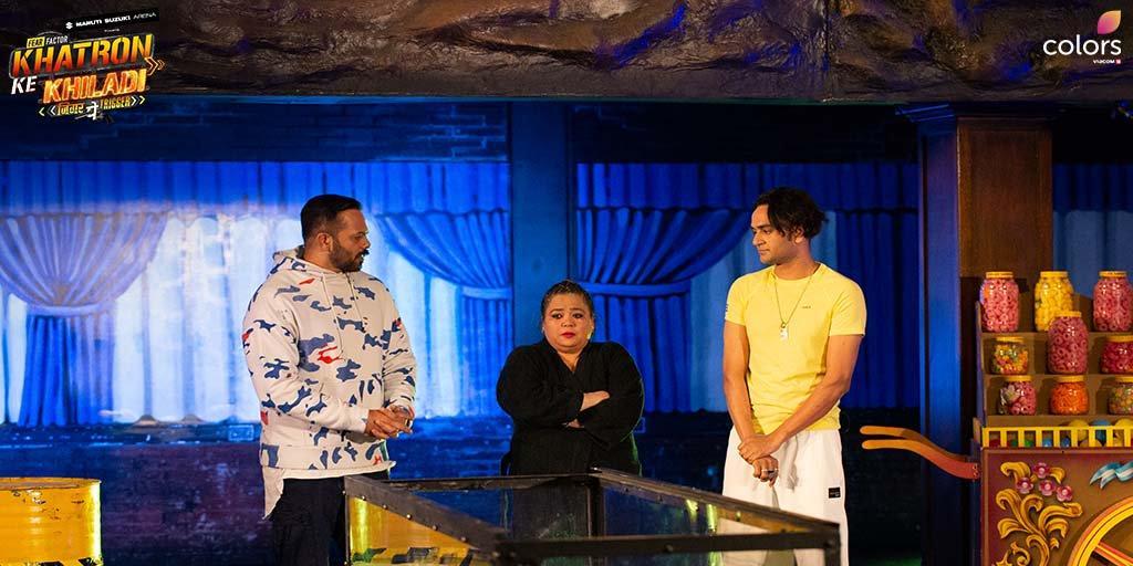 Rohit Shetty, Vikas Gupta, and Bharti Singh in Fear Factor: Khatron Ke Khiladi (2008)