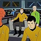 William Shatner, James Doohan, and George Takei in Star Trek (1973)