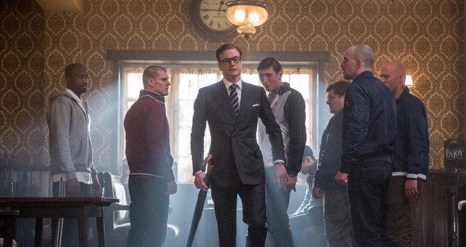 Colin Firth, Morgan Watkins, and Jordan Long in Kingsman: The Secret Service (2014)