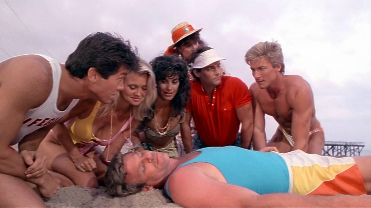 Hilary Shepard and John Allen Nelson in Hunk (1987)