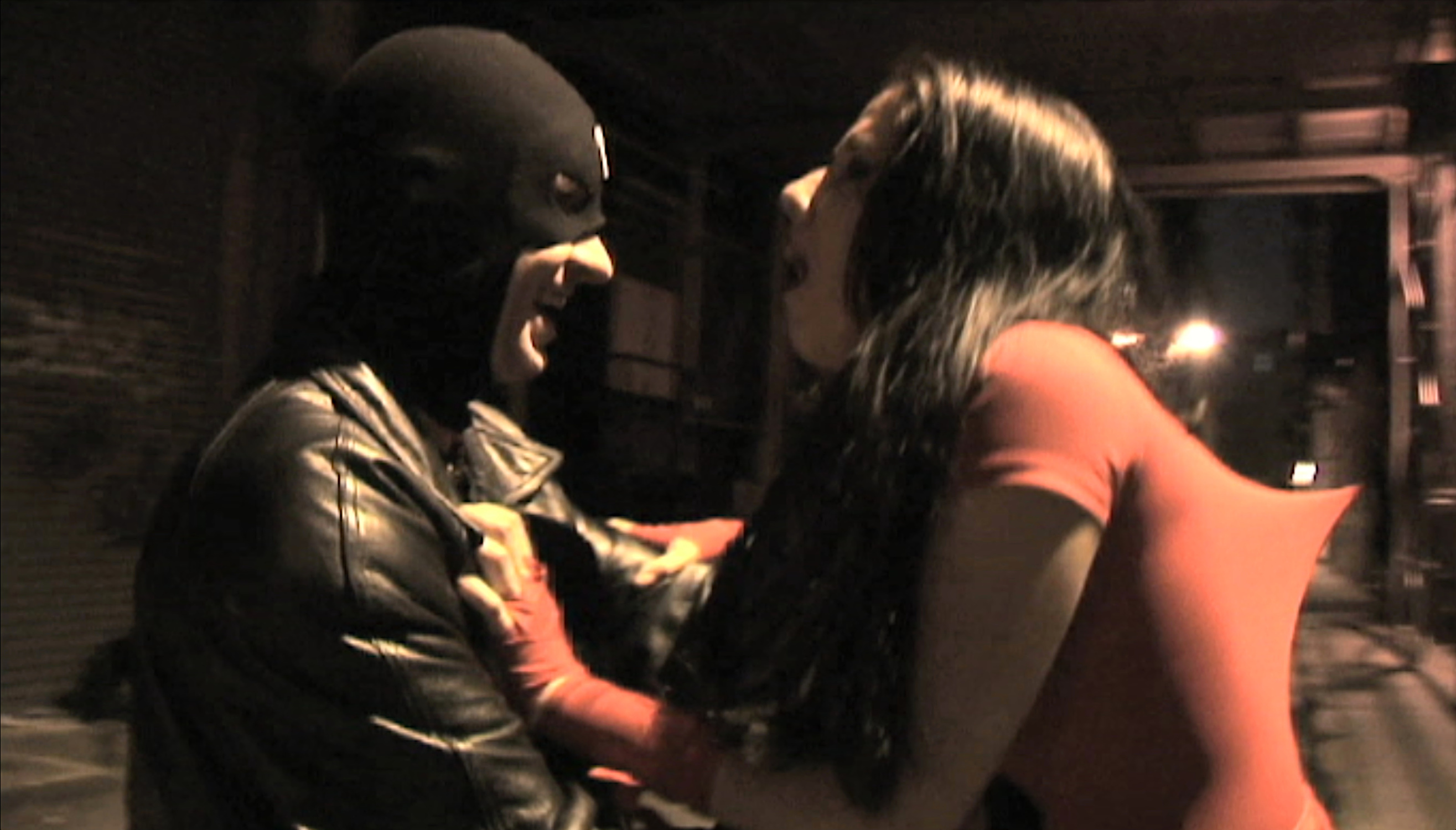 "Elektra: The Hand & The Devil Movie Still. ""Ahh.....Bullseye!"" Bullseye (Damien Colletti) stabs Elektra (Kim Santiago)."