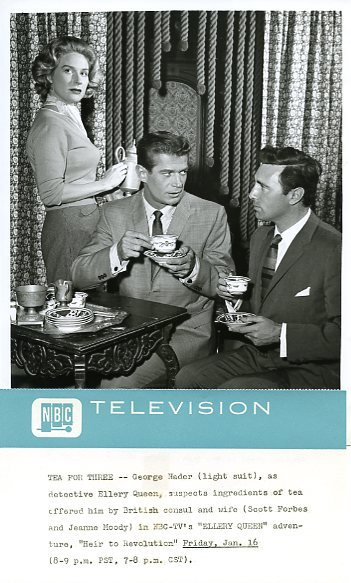 George Nader and Les Tremayne at an event for The Further Adventures of Ellery Queen (1958)