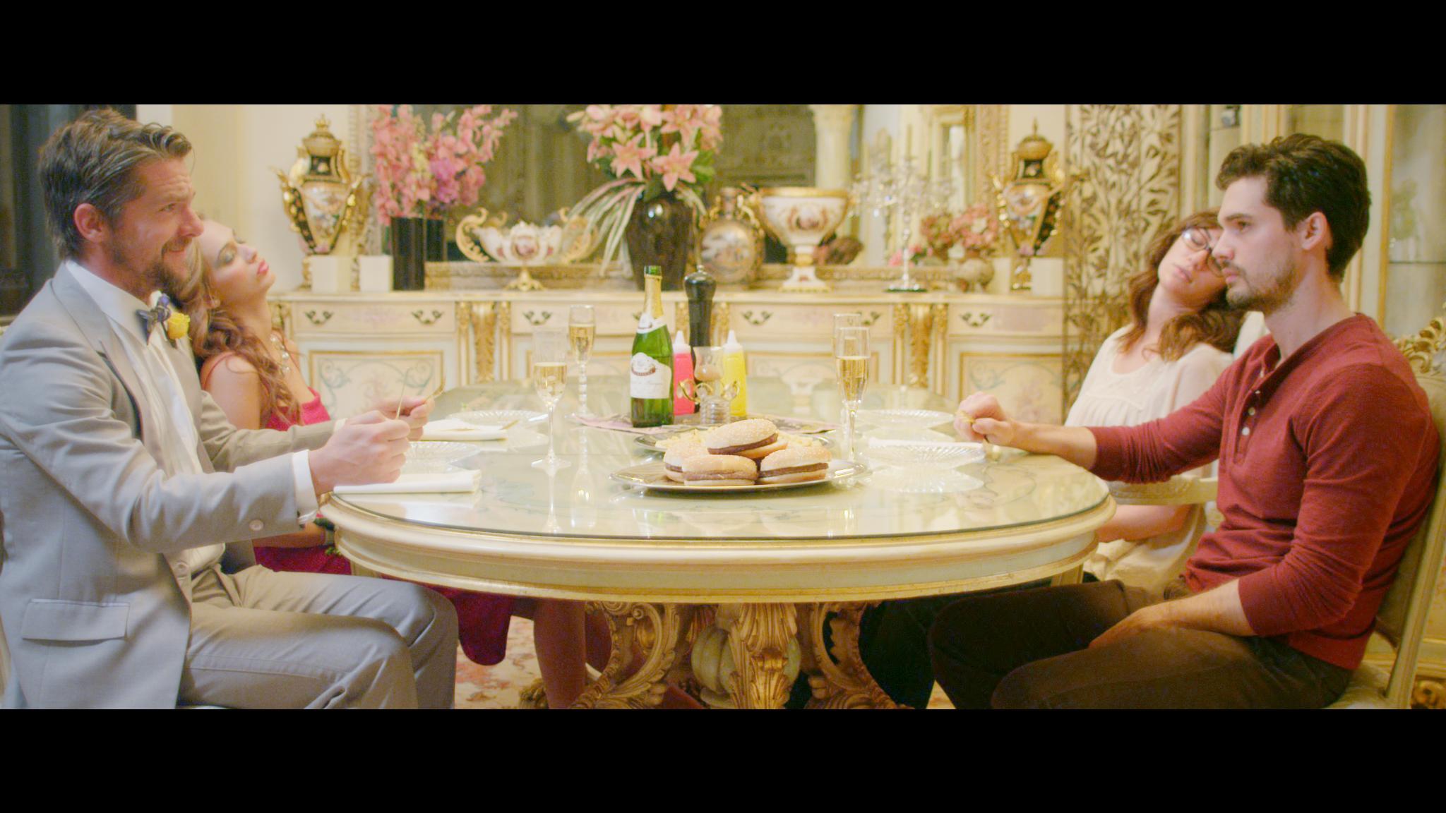 Zachary Knighton, Steven Strait, Kate Siegel, and Jessica Dykstra in Hot (2016)
