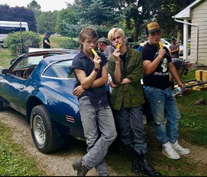 Jake Sim, Nicholas Hamilton, and Logan Thompson in It (2017)