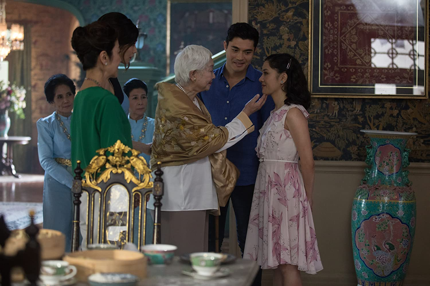 Michelle Yeoh, Lisa Lu, Constance Wu, Gemma Chan, and Henry Golding in Crazy Rich Asians (2018)