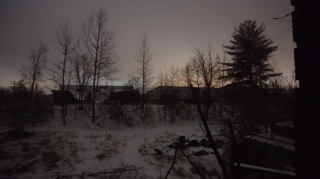 CREEPY FOREST HAVEN ASYLUM at NIGHT w/ RAGING WINTER STORM