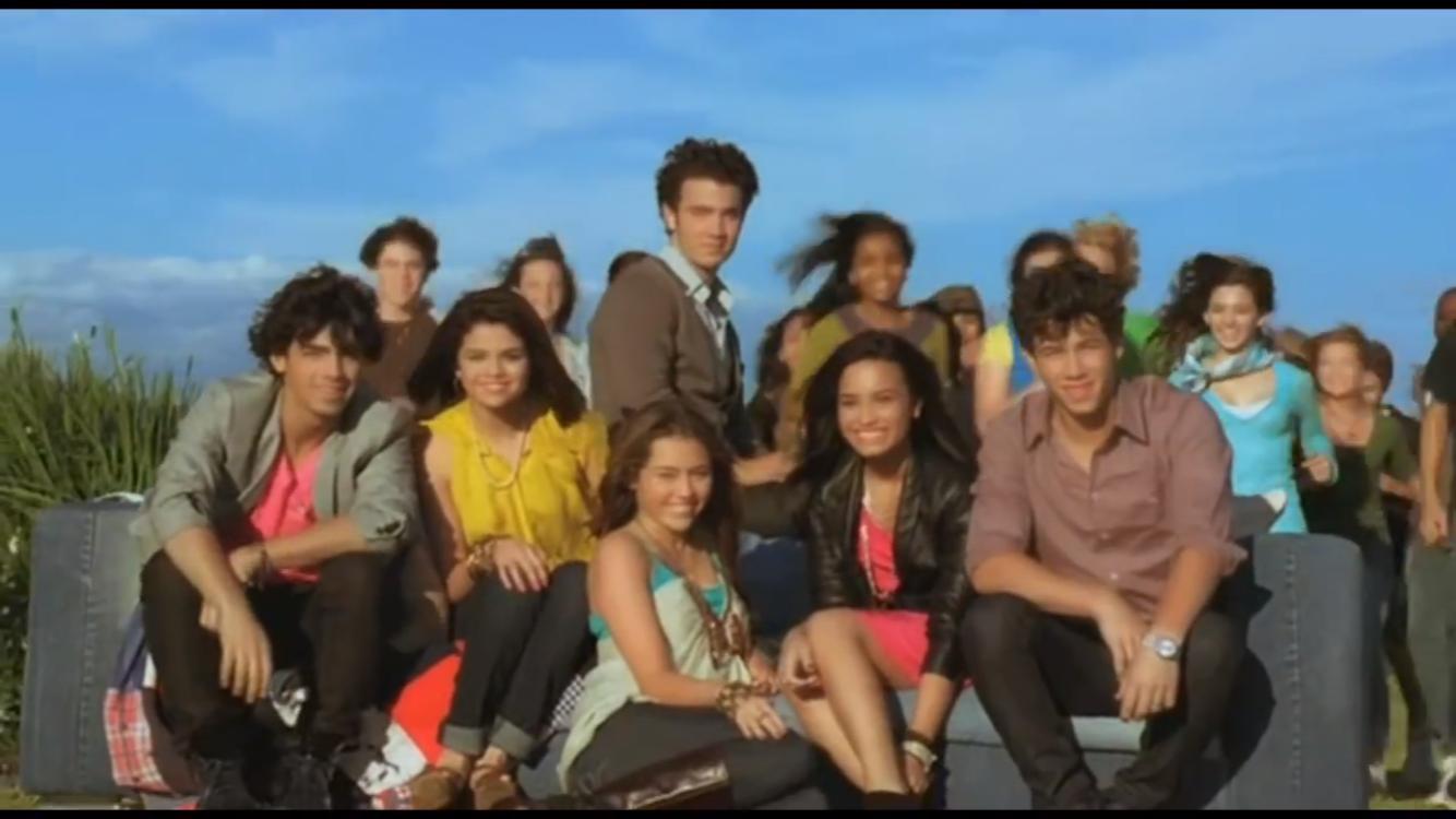 Selena Gomez, Demi Lovato, Kevin Jonas, Joe Jonas, and Nick Jonas in Disney's Friends for Change: Send It On (2009)