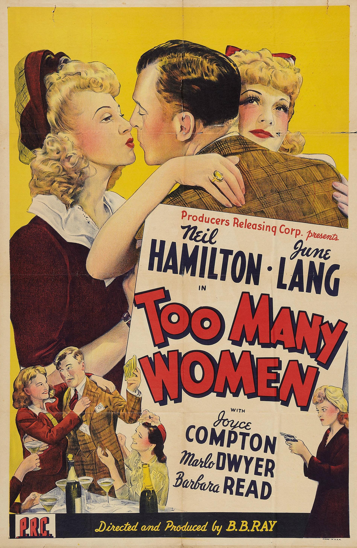 Joyce Compton, Neil Hamilton, June Lang, and Barbara Read in Too Many Women (1942)