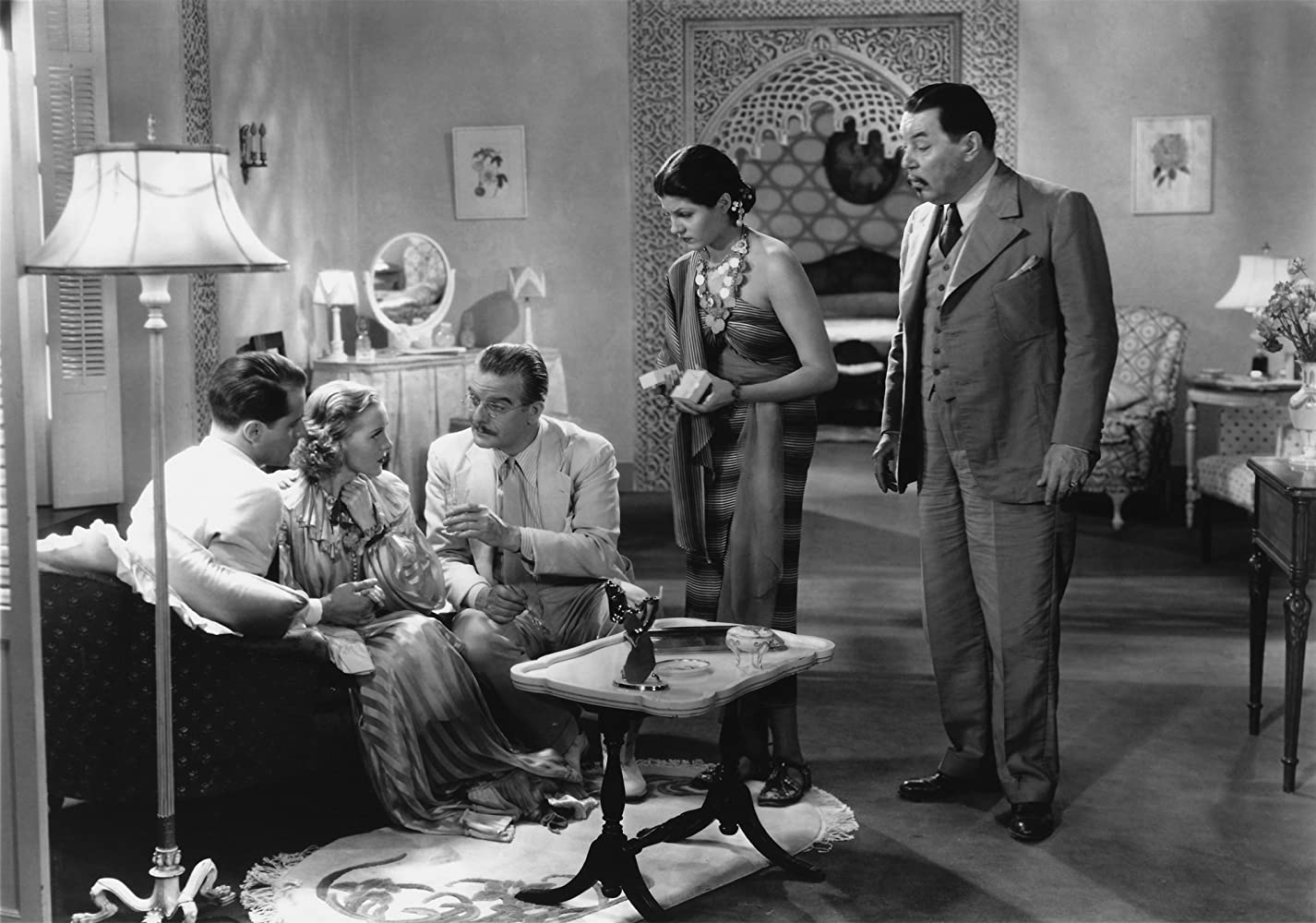Rita Hayworth, Thomas Beck, Frank Conroy, Warner Oland, and Pat Paterson in Charlie Chan in Egypt (1935)