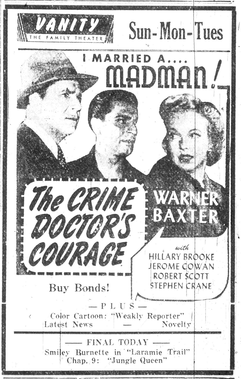 Warner Baxter, Hillary Brooke, and Anthony Caruso in The Crime Doctor's Courage (1945)