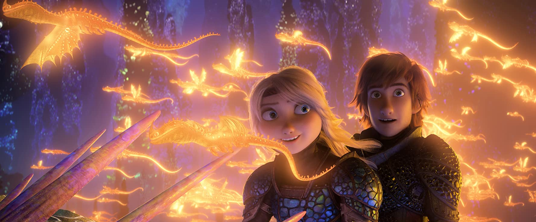 Jay Baruchel and America Ferrera in How to Train Your Dragon: The Hidden World (2019)