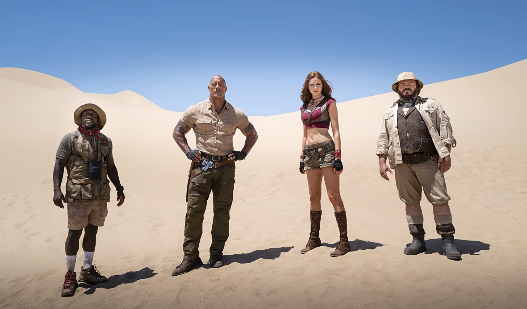 Jack Black, Kevin Hart, Dwayne Johnson, and Karen Gillan in Jumanji: The Next Level (2019)
