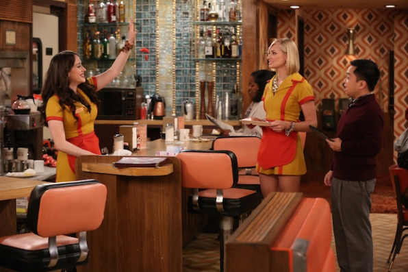 Kat Dennings, Matthew Moy, and Beth Behrs in 2 Broke Girls (2011)
