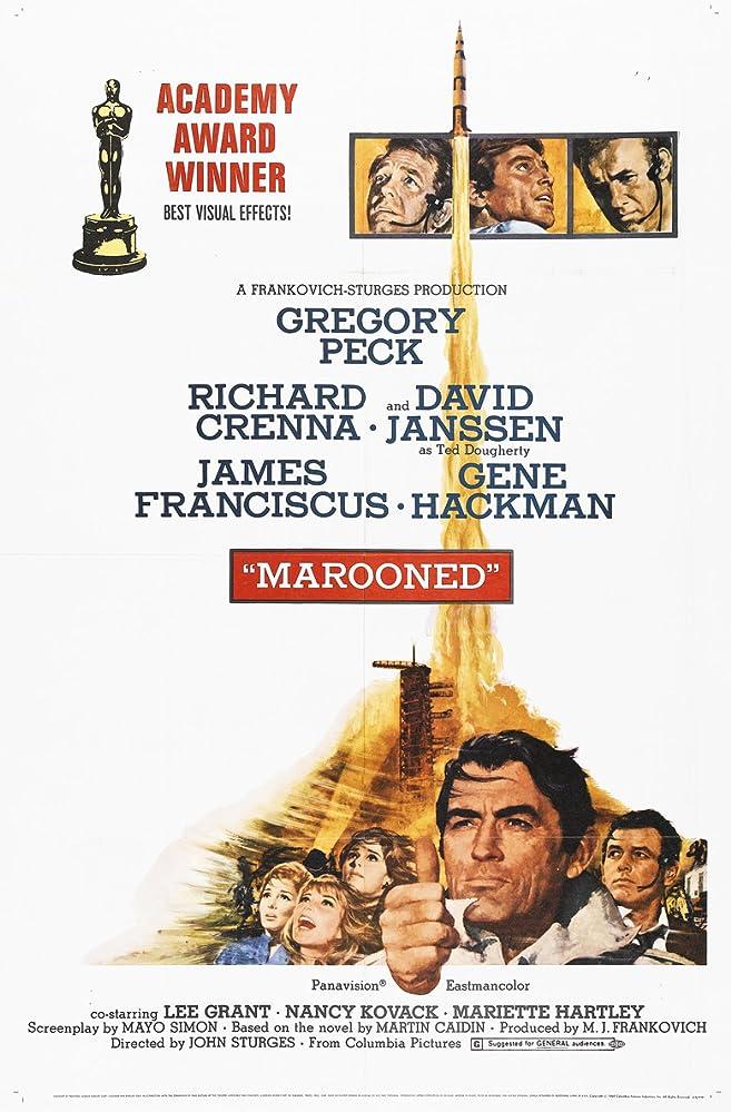 Gregory Peck, Gene Hackman, Richard Crenna, James Franciscus, Lee Grant, Mariette Hartley, David Janssen, and Nancy Kovack in Marooned (1969)