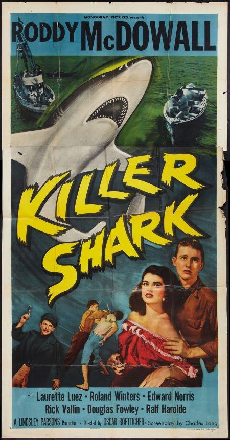 Roddy McDowall and Laurette Luez in Killer Shark (1950)