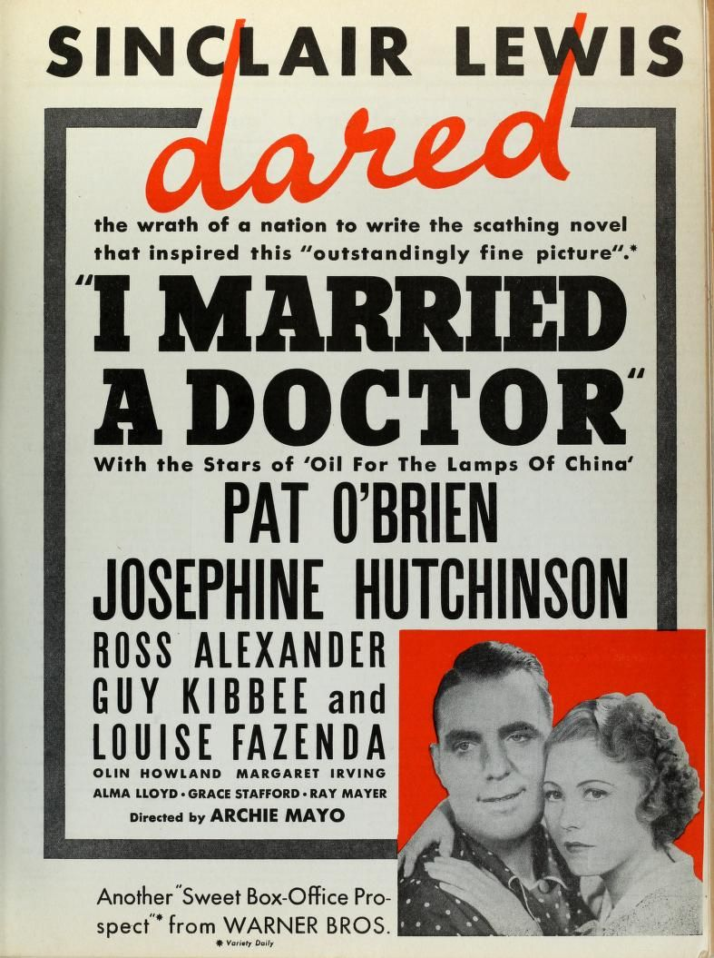Pat O'Brien and Josephine Hutchinson in I Married a Doctor (1936)