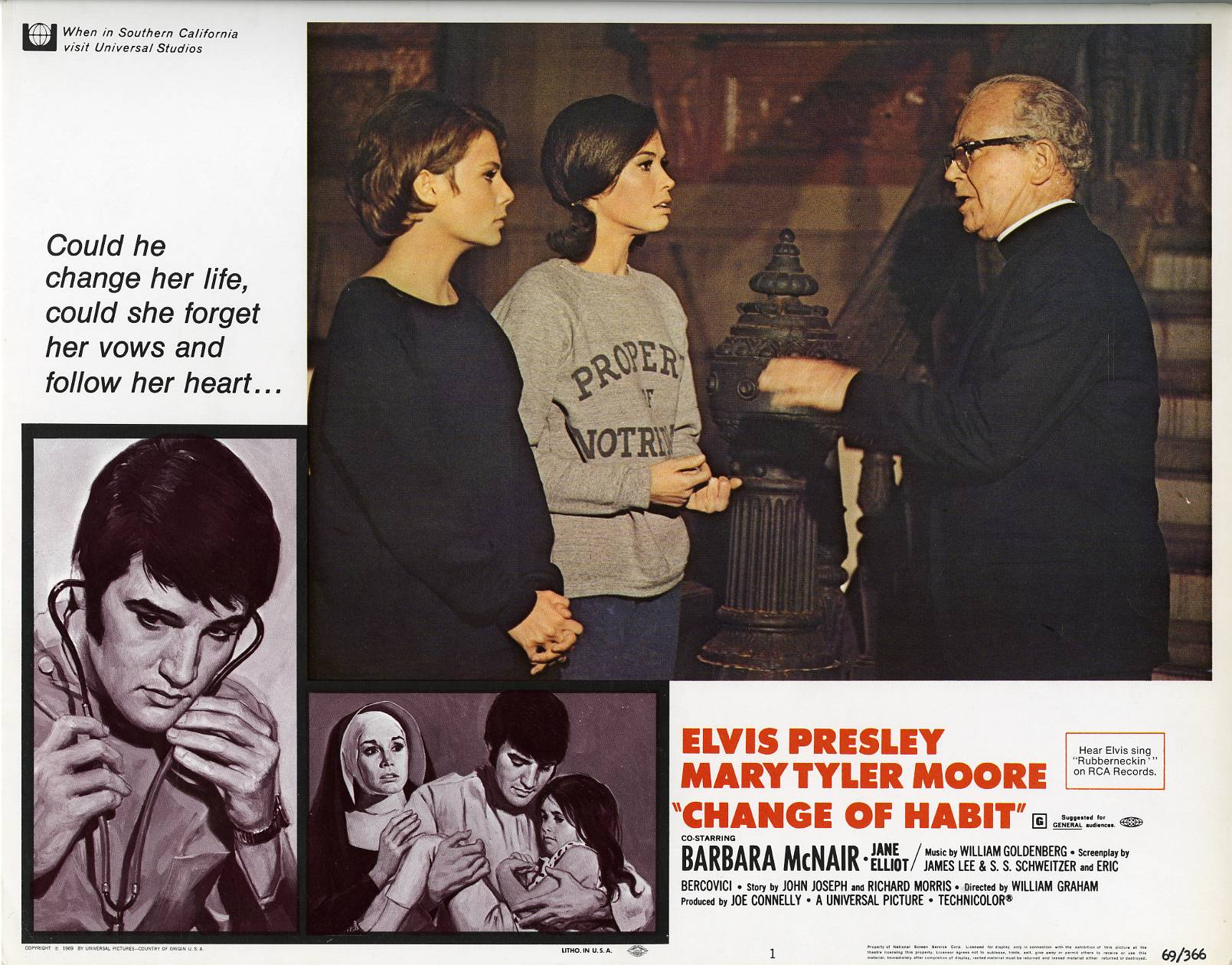 Elvis Presley, Mary Tyler Moore, Jane Elliot, and Regis Toomey in Change of Habit (1969)