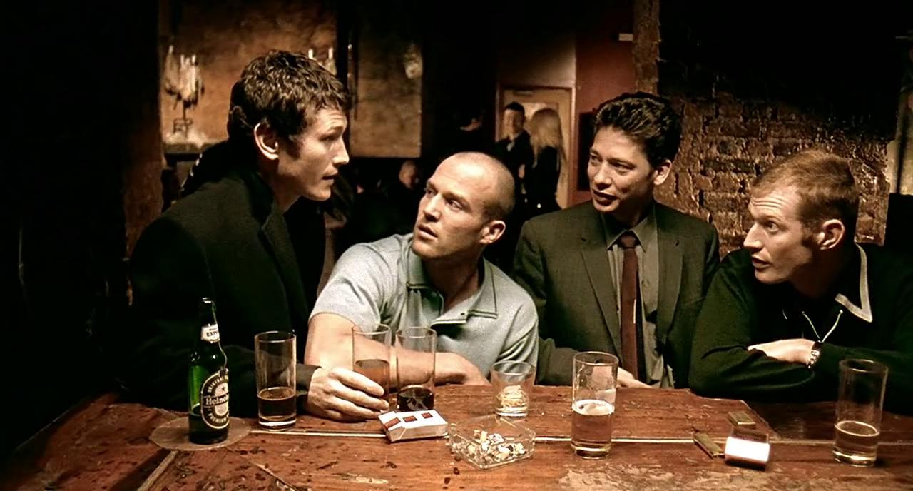 Jason Flemyng, Dexter Fletcher, Jason Statham, and Nick Moran in Lock, Stock and Two Smoking Barrels (1998)