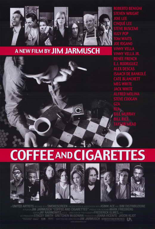 Steve Buscemi, Bill Murray, Alfred Molina, Roberto Benigni, Cate Blanchett, Tom Waits, Iggy Pop, Steve Coogan, Isaach De Bankolé, Renee French, RZA, Steven Wright, Jack White, The GZA, and Meg White in Coffee and Cigarettes (2003)