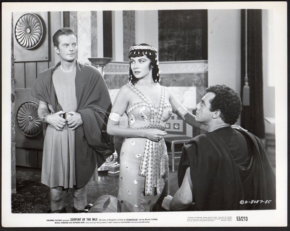 Raymond Burr, Rhonda Fleming, and William Lundigan in Serpent of the Nile (1953)