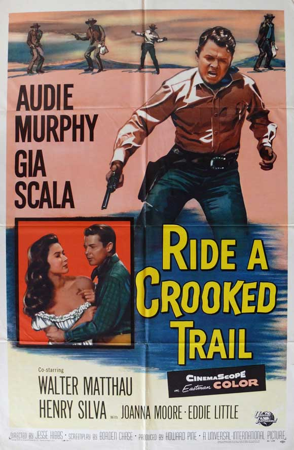 Audie Murphy and Gia Scala in Ride a Crooked Trail (1958)