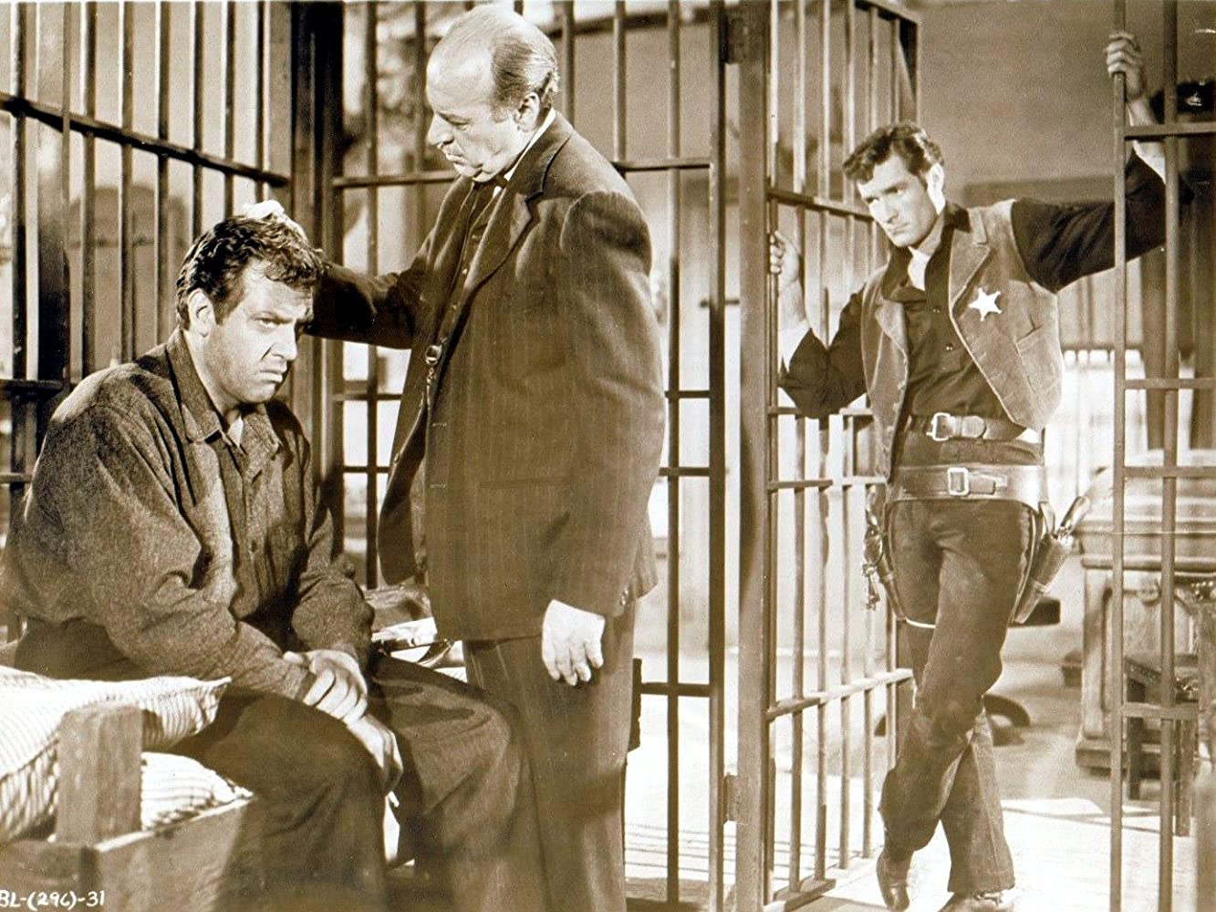 Raymond Burr, Robert Griffin, and Hugh O'Brian in The Brass Legend (1956)