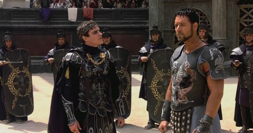 Russell Crowe and Joaquin Phoenix in Gladiator (2000)