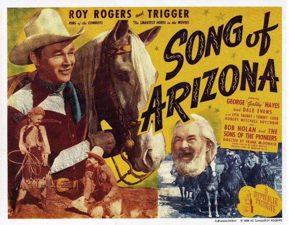 Roy Rogers, Dale Evans, George 'Gabby' Hayes, and Trigger in Song of Arizona (1946)