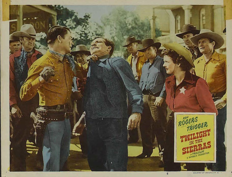 Roy Rogers, Bob Burns, Art Dillard, Dale Evans, Cactus Mack, and George Meeker in Twilight in the Sierras (1950)