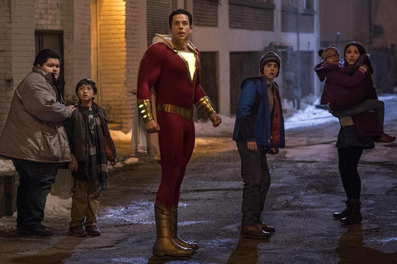 Zachary Levi, Grace Fulton, Jovan Armand, Jack Dylan Grazer, Ian Chen, and Faithe Herman in Shazam! (2019)
