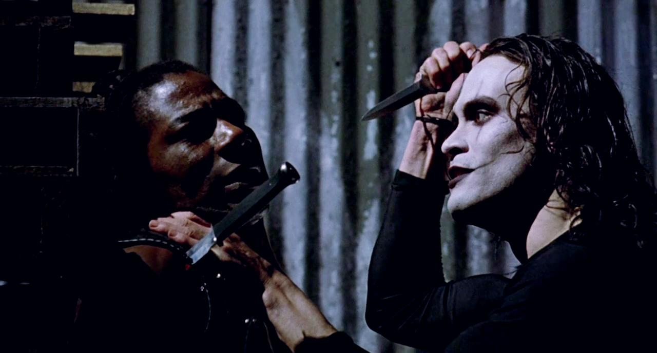 Brandon Lee and Laurence Mason in The Crow (1994)