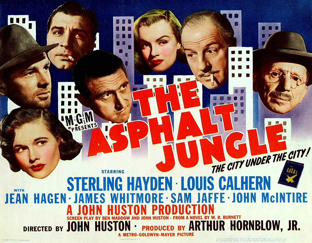 Marilyn Monroe, Sterling Hayden, Louis Calhern, Anthony Caruso, Jean Hagen, Sam Jaffe, and James Whitmore in The Asphalt Jungle (1950)
