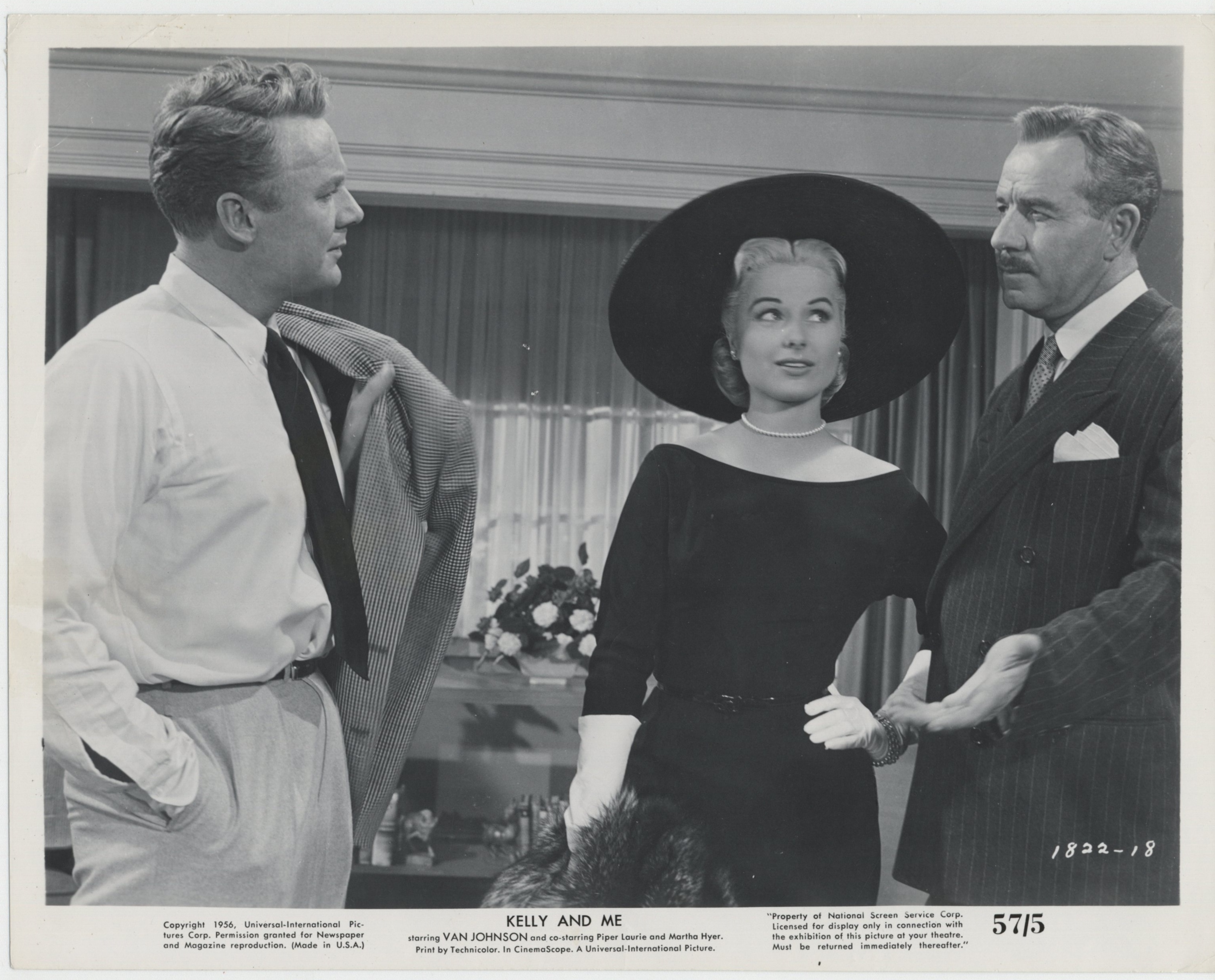 Van Johnson, Martha Hyer, and Onslow Stevens in Kelly and Me (1956)