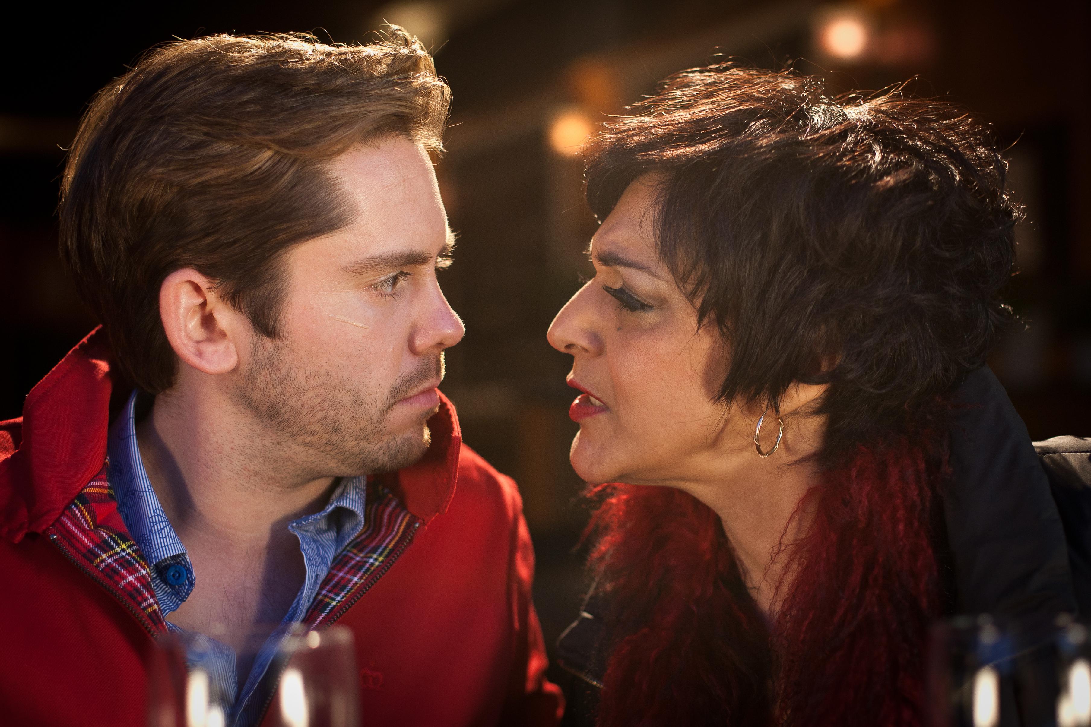 Martin Delaney and Meera Syal in Amar Akbar & Tony (2015)