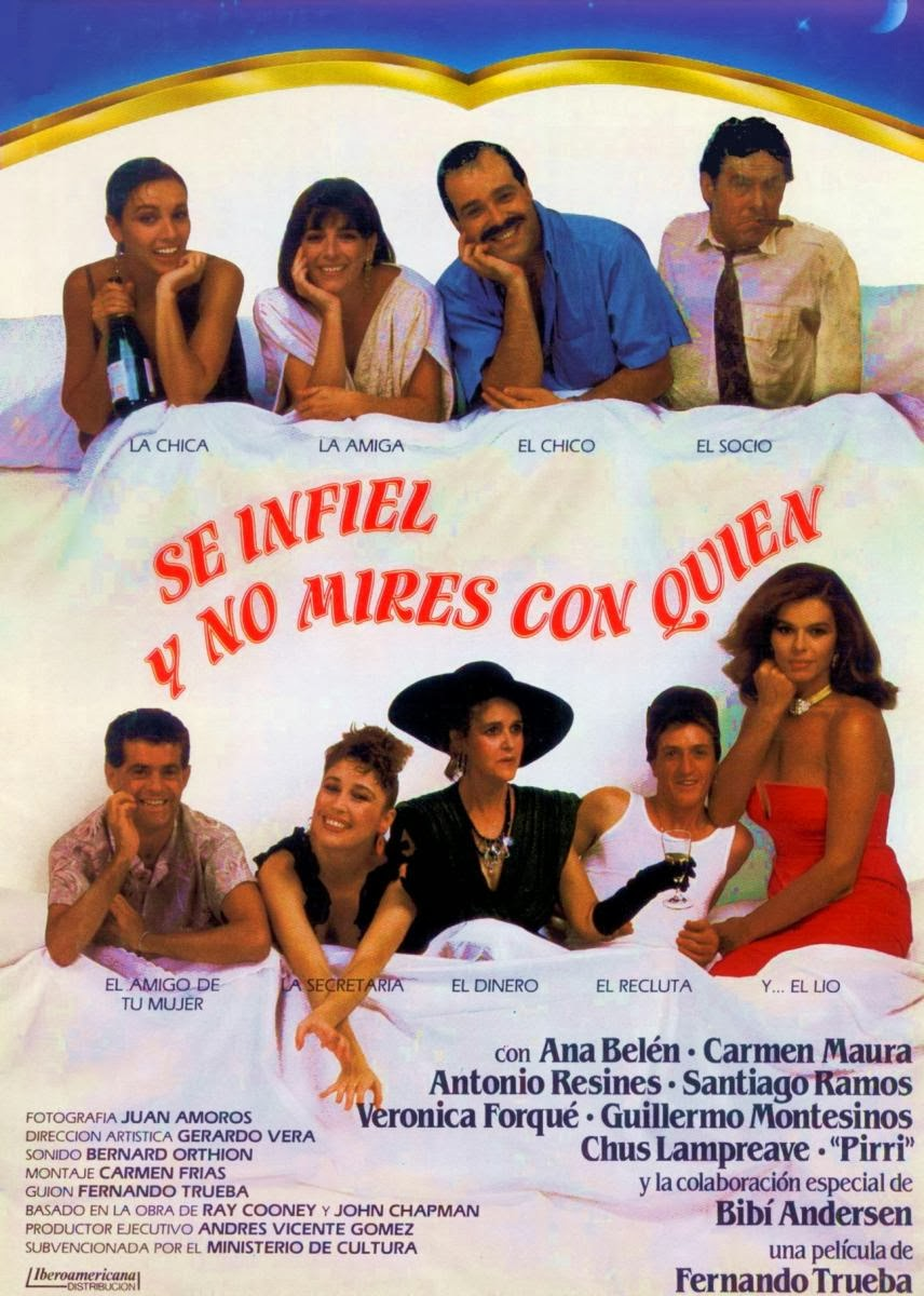 Ana Belén, Bibiana Fernández, José Luis Fernández 'Pirri', Verónica Forqué, Chus Lampreave, Carmen Maura, Guillermo Montesinos, Santiago Ramos, and Antonio Resines in Sé infiel y no mires con quién (1985)