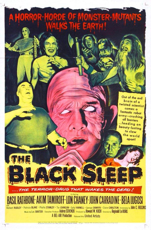 Bela Lugosi, John Carradine, Lon Chaney Jr., Basil Rathbone, and Tor Johnson in The Black Sleep (1956)