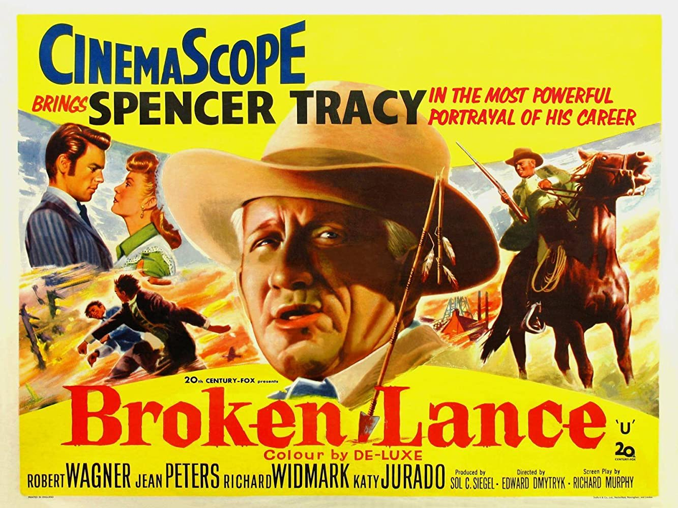Spencer Tracy, Robert Wagner, and Jean Peters in Broken Lance (1954)