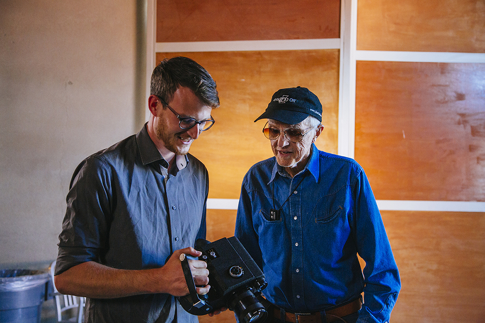 Shark Pig Producer Brian Morrow with Haskell Wexler on the set of Hal