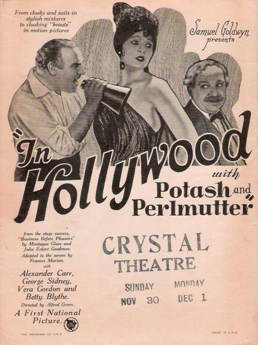 Image result for in hollywood with potash and perlmutter 1924