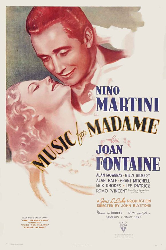 Joan Fontaine and Nino Martini in Music for Madame (1937)