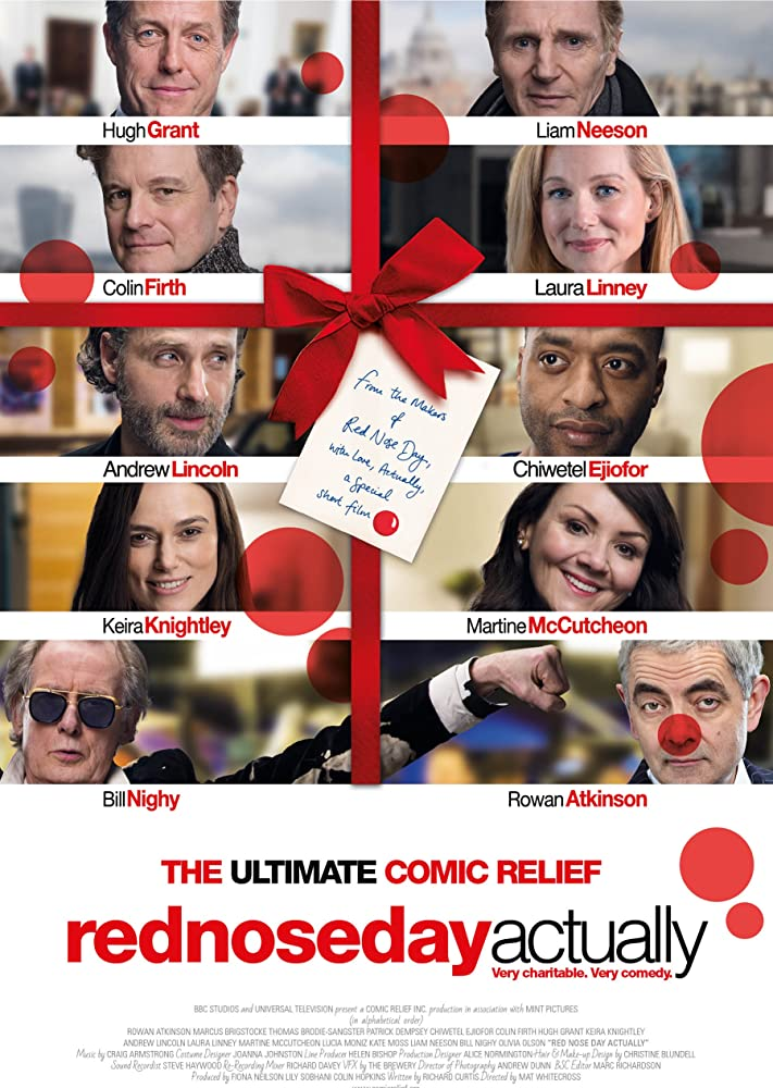 Rowan Atkinson, Colin Firth, Hugh Grant, Liam Neeson, Laura Linney, Chiwetel Ejiofor, Keira Knightley, Andrew Lincoln, Martine McCutcheon, and Bill Nighy in Red Nose Day Actually (2017)