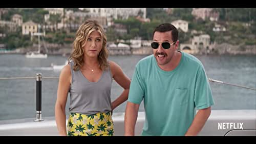"""Jennifer Aniston and Adam Sandler play a couple whose trip brings them more than they bargained for in """"Murder Mystery."""""""