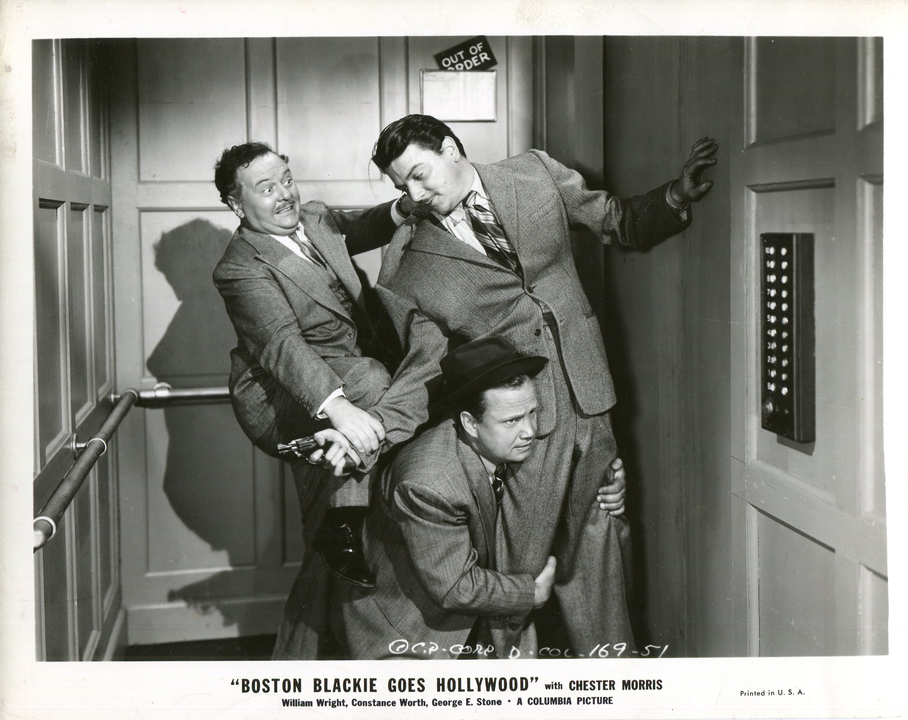 Lloyd Corrigan, George E. Stone, and William Wright in Boston Blackie Goes Hollywood (1942)