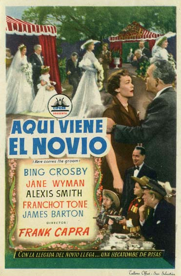 Bing Crosby, James Barton, Jacques Gencel, Alexis Smith, Franchot Tone, Beverly Washburn, and Jane Wyman in Here Comes the Groom (1951)
