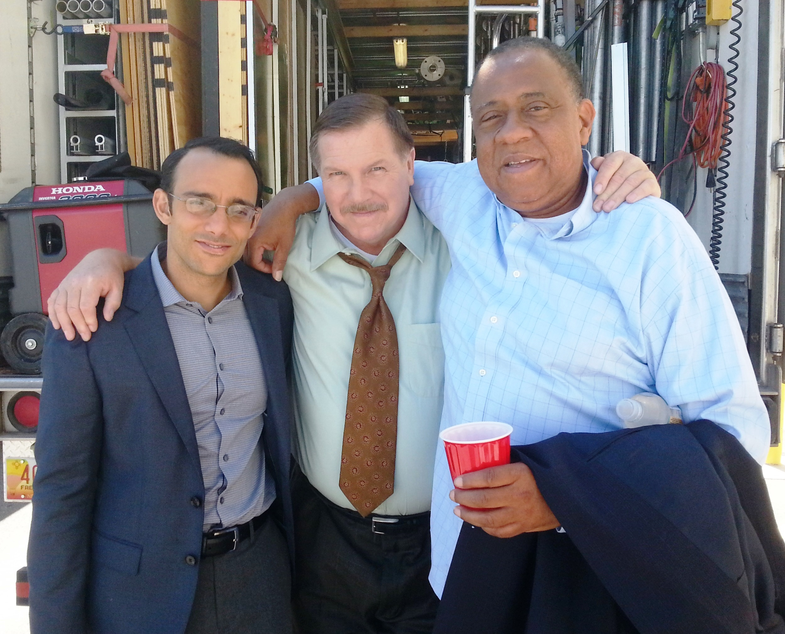 Daniel Knight (center) on the set of AMC's Better Call Saul with Omid Abtahi (left) and Barry Shabaka Henley (right)