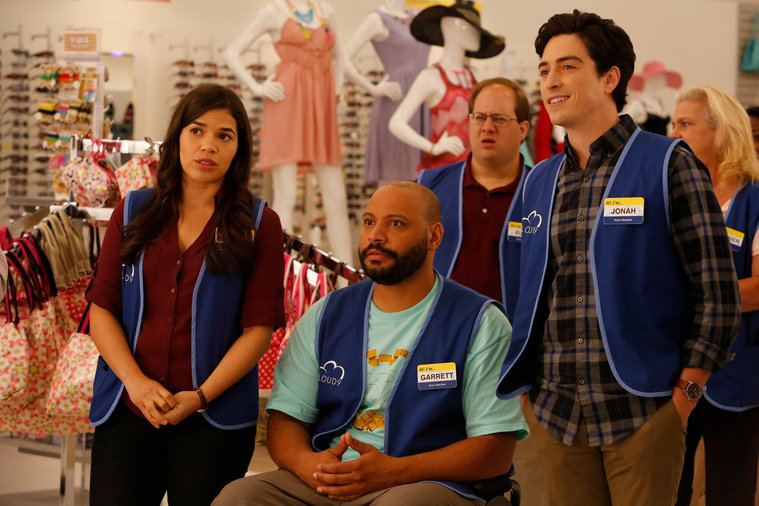 Danny Gura, America Ferrera, Ben Feldman, and Colton Dunn in Superstore (2015)