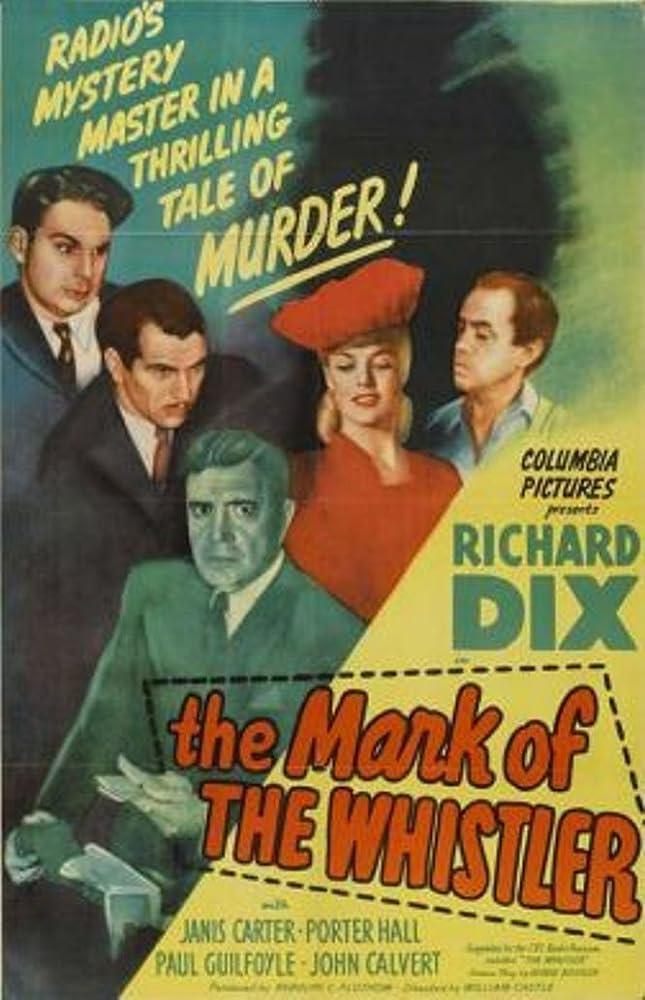 Paul Guilfoyle, John Calvert, Janis Carter, Richard Dix, and Matt Willis in The Mark of the Whistler (1944)